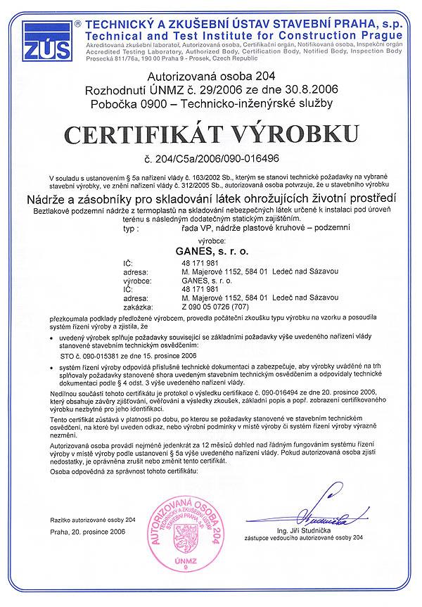 Certifikát výrobku